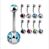 Wholesale Triple Gem Navel Belly Rings Belly Button Rings Piercing Body Jewelry Mixed Colors