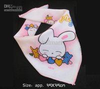 Wholesale Cotton Handkerchief Lovely Rabbit Bibs Double Layer Soft Organza Baby s Handkerchief HK203
