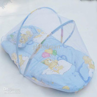 Wholesale 3pcs Easy Carry Baby Bedding Set Mosquito Net Pillow Bed Pad Foldable Nursery Bedding Set set TT302
