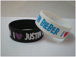 50PCS Lot Printed I Love Justin Bieber Silicon Bracelet, Wear This Latex-Free Wristband To Support The One You Love