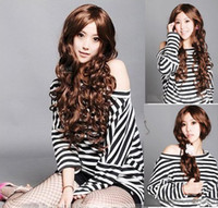 Wholesale 2012 Long Curly Wavy Women Full Wigs Japanese Kanekalon Made mix order