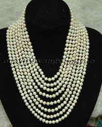 real natural pearl jewelry genuine fine 8 row 7-8mm white pearls Necklace