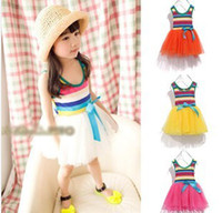 Wholesale Baby Girls Sun dress Rainbow dress Cake Dresses Wide Stripe Sleeveless Summer Toddler Tutu dress