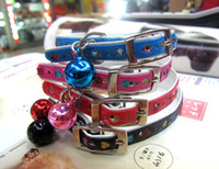 Wholesale cute small bell leather mini dog collar cat collar pet products