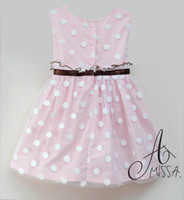 Wholesale dotted baby dress baby dresses AMISSA tank dress pink girls one piece dresses lace baby skirt CL163