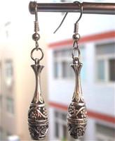 tibetan jewelry - 2012 New Vintage Tibetan Silver Hollow Flower Bottle Pendant Earring Women Tribal Jewelry pair