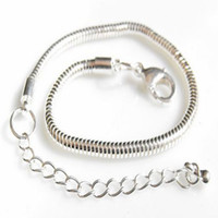 Wholesale Fashion jewelry Silver mm Snake Chain Charm adjustable Bracelet fit inch inch