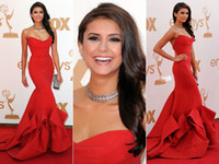 Wholesale New arrival Sexy Red Nina Dobrev mermaid sweetheart strapless Emmy Awards Celebrity Dresses