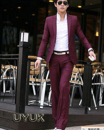 Wholesale UYUK Styles Men s Suits Dark Red Jackets With Pants Slim With One Button dress Suits For Men