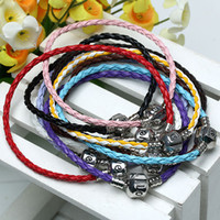 Wholesale Vintage Mix Colors Silver Braided Leather Bracelet Fit European Beads Bracelets Hot