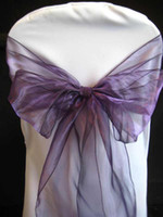 Wholesale 50pcs New Purple Organza Chair Sashes Bow Cover Banquet Decorations Party Colors