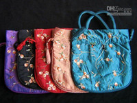 Wholesale Large Party Favor Gift Bags size x22 cm Stock Silk Embroidery Drawstring Packaging mix Free