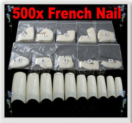 Wholesale 500 Natural White Half Tips Design Artificial French Acrylic Style False Nail Art Tips Free Shippin
