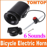 Wholesale 6 Sounds Black Bicycle Electronic Bell Alarm Siren Horn Loud Speaker for riding H8200