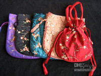Wholesale Stock Wedding Favor Tote Bags size x22 cm Silk Embroidery Drawstring Gift Wrapping mix Free