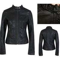 Wholesale 2014 new fashion women black jackets biker faux leather jacket plus size big and tall fashion brand jacket dropship