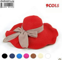 Wholesale Fashion Korean lady uv protection plain dyed beach bowknot sun straw hats