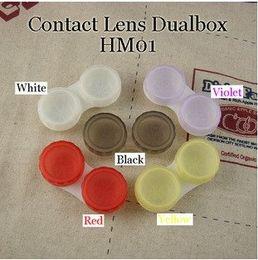 Wholesale express freeshipping brand contact lens case dual box animal lens case cheaper cute contact case
