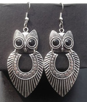 Silver tibetan jewelry - New Arrival Tribal Vintage Tibetan Silver Big Owl Pendant Earrings Personality Jewelry Stock pir