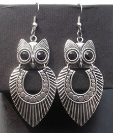 New Arrival Tribal Vintage Tibetan Silver Big Owl Pendant Earrings Personality Jewelry Stock 30pir