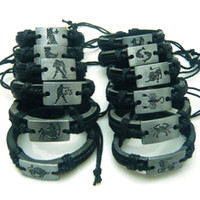 Wholesale Leather Bracelets Charm twelve constellation Wrap Leather Bracelet Chains Mixed Friendship Bracelet