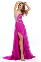 Wholesale Sexy Sweetheart Beaded Fold Sequin Chiffon Prom Dresses New Arriva E