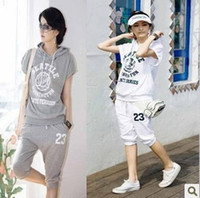 Wholesale promotion women sports wear hoodie short jogging suit grey white