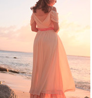 V_Neck Tea Length Bohemia Maxi Beach  Dress Summer Elegant Bohemia Maxi Beach Dress Strapless Empire Waist Chiffon Japanese Boho SS-SHYD-10