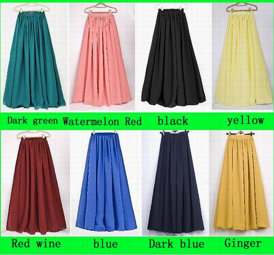 2017 Full Length Skirts Hotest Maxi Skirt Fashion Chiffon Maxi ...