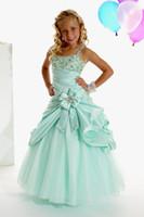 Wholesale Lovely Green Straps Flower Girl Dress Girl s Pageant Dresses Birthday Dress Custom SZ T424019