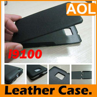 No i9100 - Tan Brown Suede classly Leather Flip Case Cover for Samsung Galaxy S II i9100 two colors