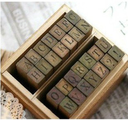 Wholesale New Arrivals Funny uppercase lowercase wooden stamp set per set DIY stamp Iron Box