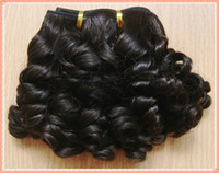 Wholesale 14 inches Brazilian virgin hair natural color Molado curls machine made hair weft g pc