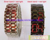 Digital blue led - 50pcs NEW Metal Lava Style Red amp Blue LED Iron Samurai Watch Men Women fashion classic watches