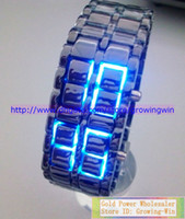 Wholesale 30pcs LED Digital Watch Lava Iron Samurai Metal LED watch Japan Inspired Red Blue LED Watches