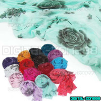 Wholesale 10 Girls Women s Fashion Candy Colour Rose Flower Long Soft Scarf Wrap Shawl Stole