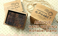 Wholesale Wooden vintage block Creative letters Antique Alphabet Stamps Handwriting carved gift toy pc set