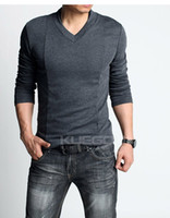 Wholesale Must have Men s tshirt sexy slim V neck cotton long sleeved t shirt extra large color
