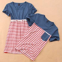 Wholesale 2013 Summer Fashion Lovers T Shirts Stripe Montage Lace O Neck Cotta Cotton Couple Clothing Lovely