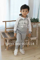 3T-4T Boy Spring / Autumn Wholesale Autumn baby clothing set baby hoody baby pant 5 sets lot gray colors
