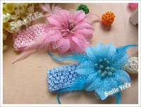 Wholesale 30pcs inch Feather flower inch Headband Baby s Hair Flower Girl s Hair Holder Headwear