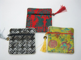 Stock Luxury Gift Bags Wholesale size 11x11cm Silk Printed Tassel Zip Wrapping Mix Color 50pcs Free