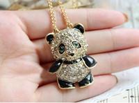 achat en gros de tirez gros ours-Vente en gros Belle collier pendentif diamant Zircon panda ours en peluche chaîne Pull collier plaqué or Bijoux YK7