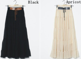 Wholesale New fashion women chiffon skirts Korea Bohemia style drape bust dress black and apricot
