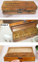 Wholesale Wooden vintage block letters Antique Alphabet numbers punctuation mark Stamps Handwriting PC set