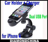 Wholesale Dual USB Port Car Mount Holder Charger Kit for iPhone iPhone s GPS Retail Box Diamondchina
