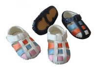 Wholesale 2012The Newest Brand Genuine Leather Baby First walker TPR Outsole Sandals Colors Pairs Q127