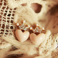 Wholesale beautiful diamond crown little peach heart love earrings stud fashion women jewelry