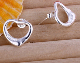 Fashion Lovely Heart 925 Silver Earings Stud Unisex Earring Jewelry Fashion Sterlin Silver Stud Earring Jewerly