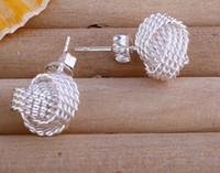 Wholesale Fashion Jewelry Shining Twist Stud Silver Earings Stud Unisex Earring Jewelry Mix styles stud earrings